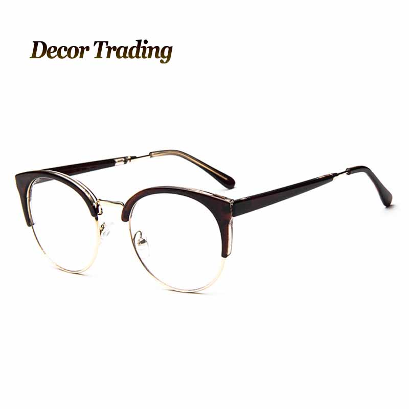 Fashion Cat Eye Half Metal Frame Glasses For Women/Men Retro Vintage ...